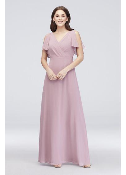 ecba9905c7a3 Split-Sleeve Chiffon Surplice Bridesmaid Dress. W60012. Long Pink Soft &  Flowy Reverie Bridesmaid Dress