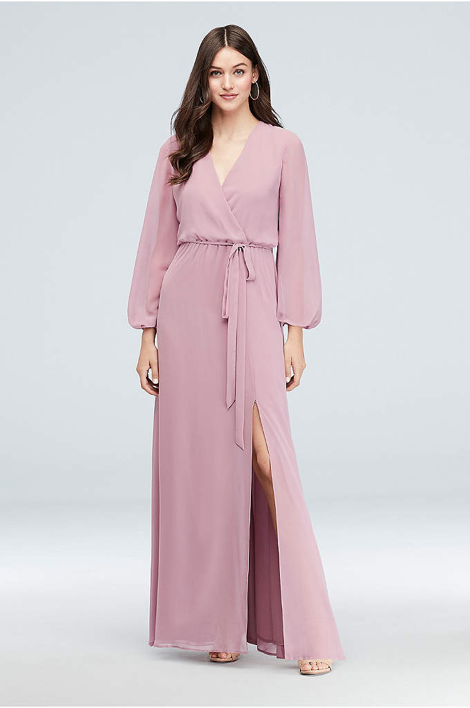 Long Sleeve Chiffon Faux-Wrap Bridesmaid Dress - The surplice neckline and elastic waist of this