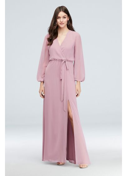 Long Sleeve Chiffon Faux-Wrap Dress - The surplice neckline and elastic waist of this