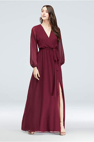 Long Sleeve Chiffon Faux-Wrap Dress