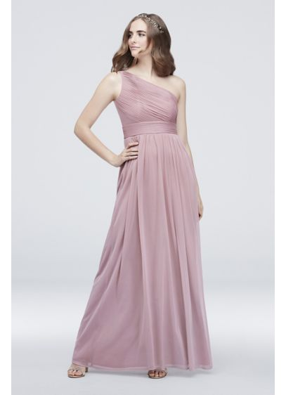 b85bab416487 Micro-Pleated Mesh One-Shoulder Bridesmaid Dress - Precise