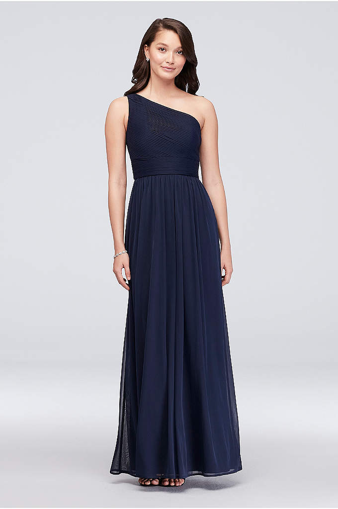 Micro-Pleated Mesh One-Shoulder Bridesmaid Dress - Precise, narrow pleats detail the bodice and waistline