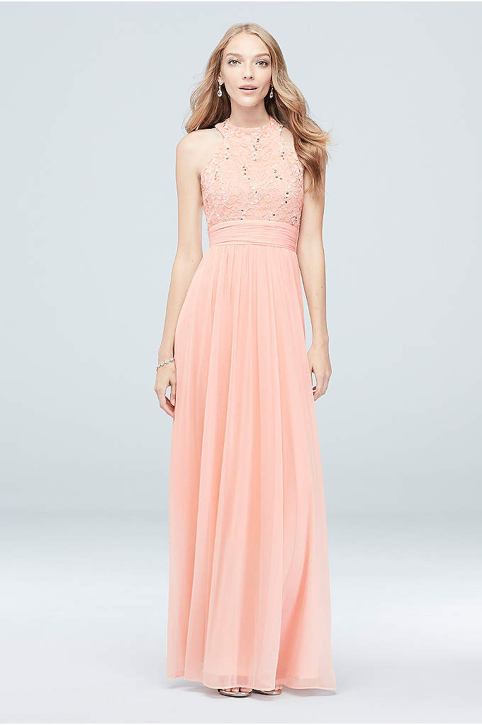 High-Neck Sequin Lace and Chiffon Dress - With a high neckline, a sequin lace bodice,