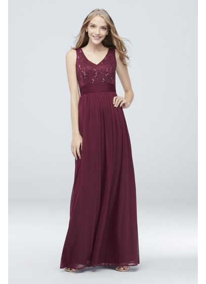 Mesh and Sequin Lace Dress with Pleated Waist - From sequin lace bodice to pleated waistband to