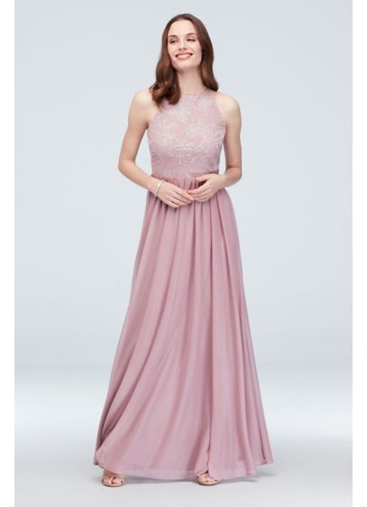 High-Neck Caviar Beaded Floral Chiffon Dress - Caviar beading and sparkling glitter create beautifully blooming