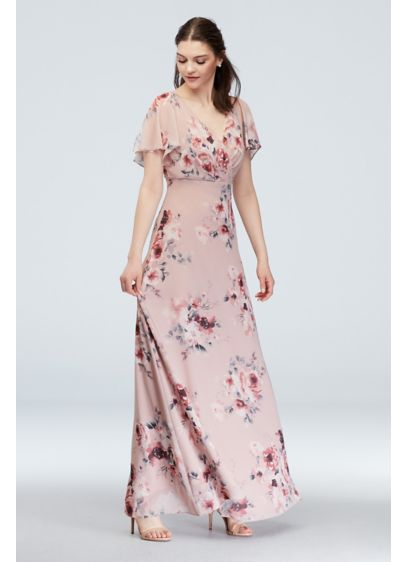 Flutter Sleeve Floral Chiffon Dress - A classic V-neck chiffon dress is updated with
