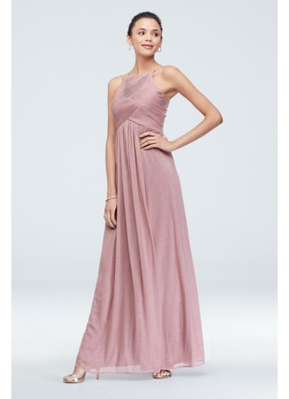 High Neck Pleated Crisscross Glitter Chiffon Dress - A beautiful, glittery option for a bridesmaid or