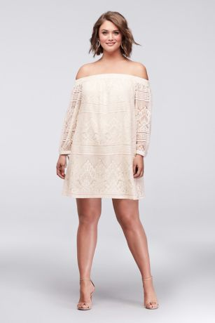 Off-the-Shoulder Plus Size Lace Mini Dress | David\'s Bridal