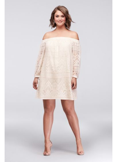 Off-the-Shoulder Plus Size Lace Mini Dress