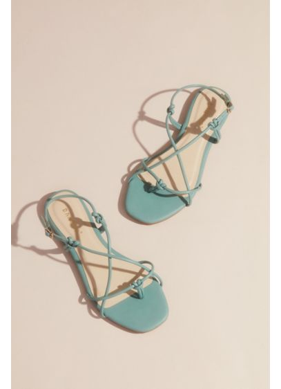 Bamboo White (Vegan Leather Strappy Knot Flat Sandals)