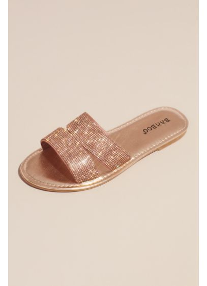 Bamboo Grey (Metallic Slide Sandals with Allover Crystal Straps)