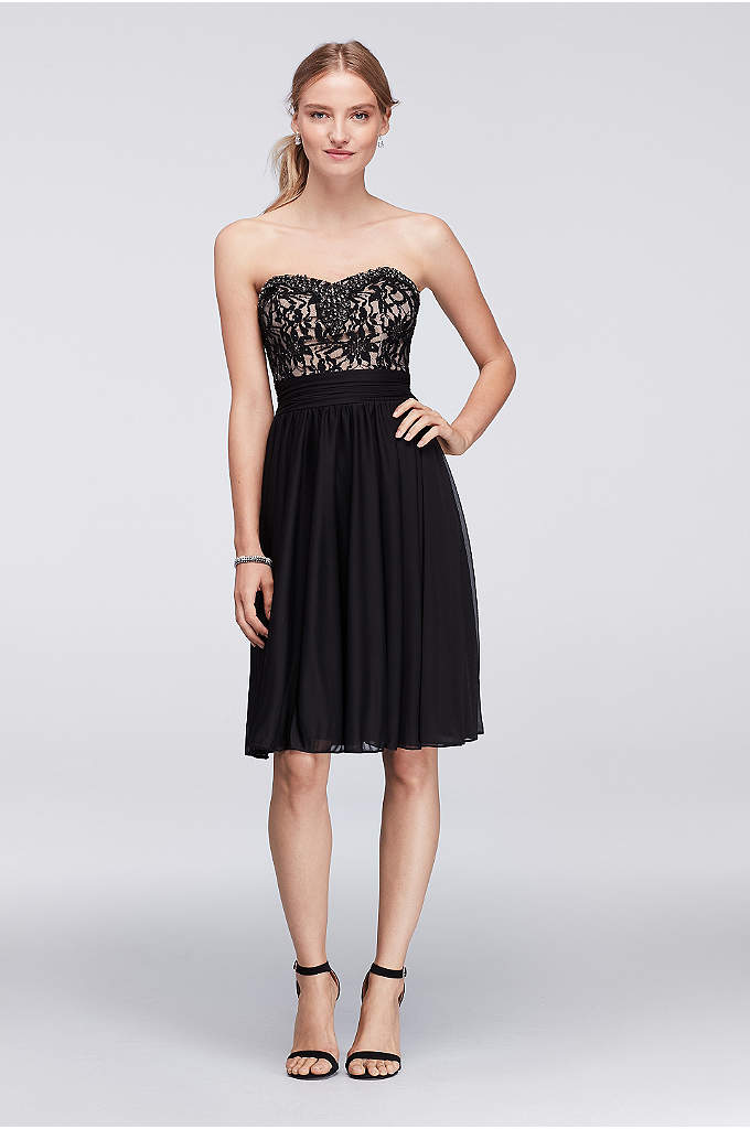 Jeweled Lace and Mesh Strapless Short Dress - The lace sweetheart bodice of this mesh cocktail
