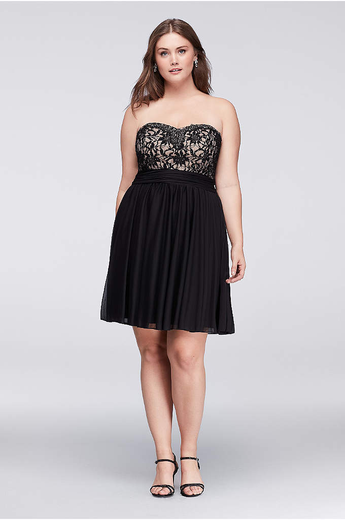 Jeweled Lace and Mesh Strapless Plus Size Dress