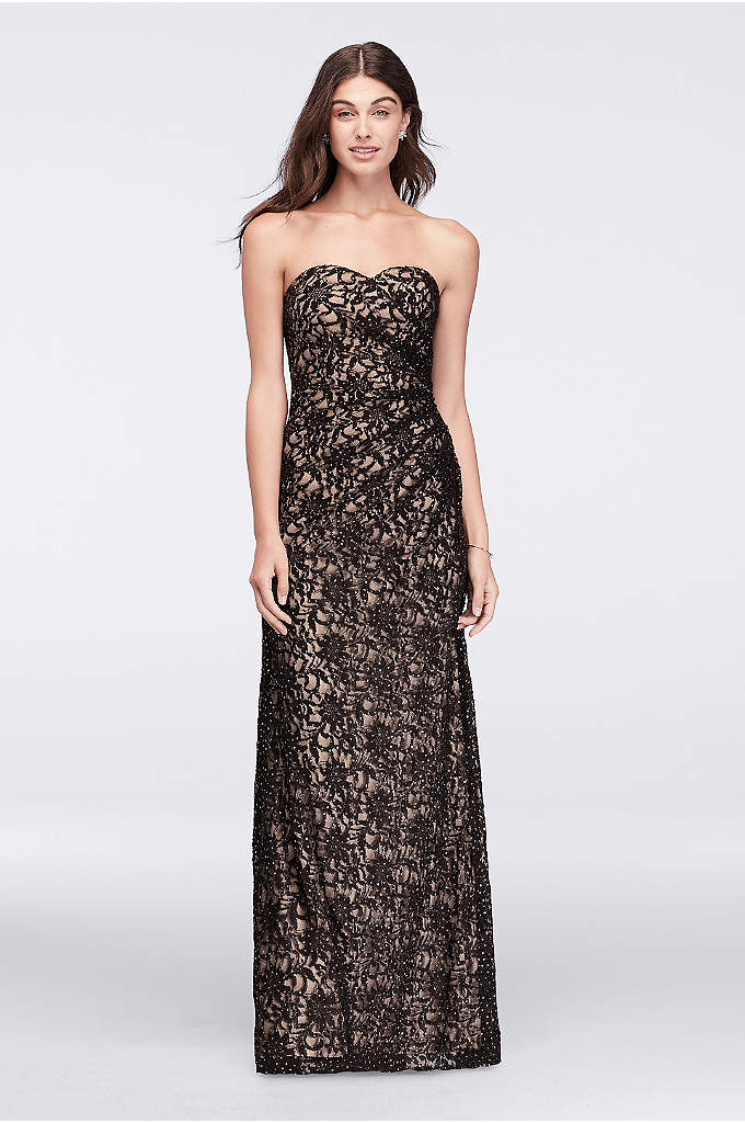 Floral Lace Strapless Dress with Side Gathering - Dotted with glitter, this long lace gown has