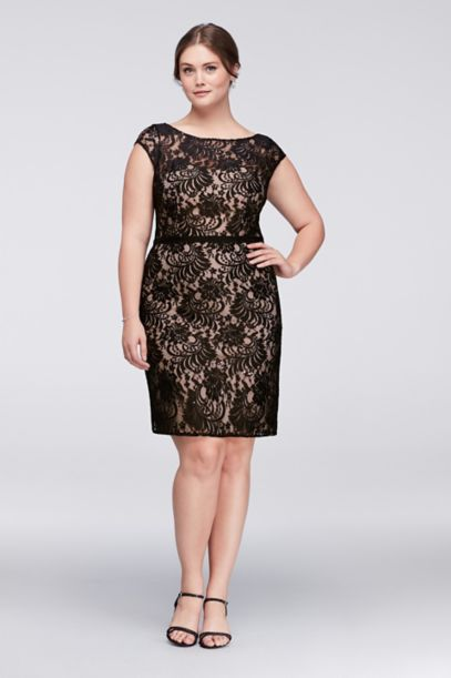 Illusion Lace Plus Size Cocktail Dress With Ribbon David S Bridal