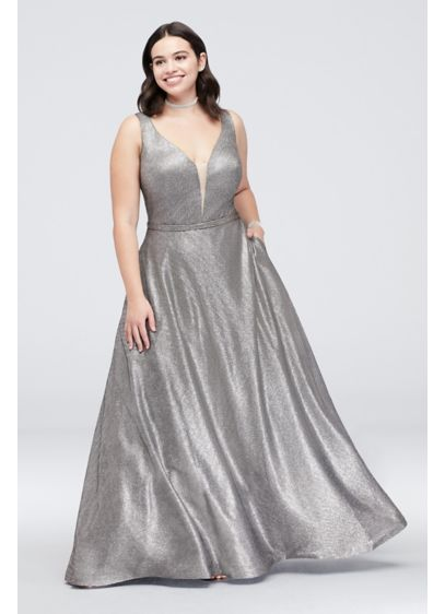 Belted Metallic Plus Size Ball Gown with Pockets - Turn heads in this captivating metallic, plus-size ball