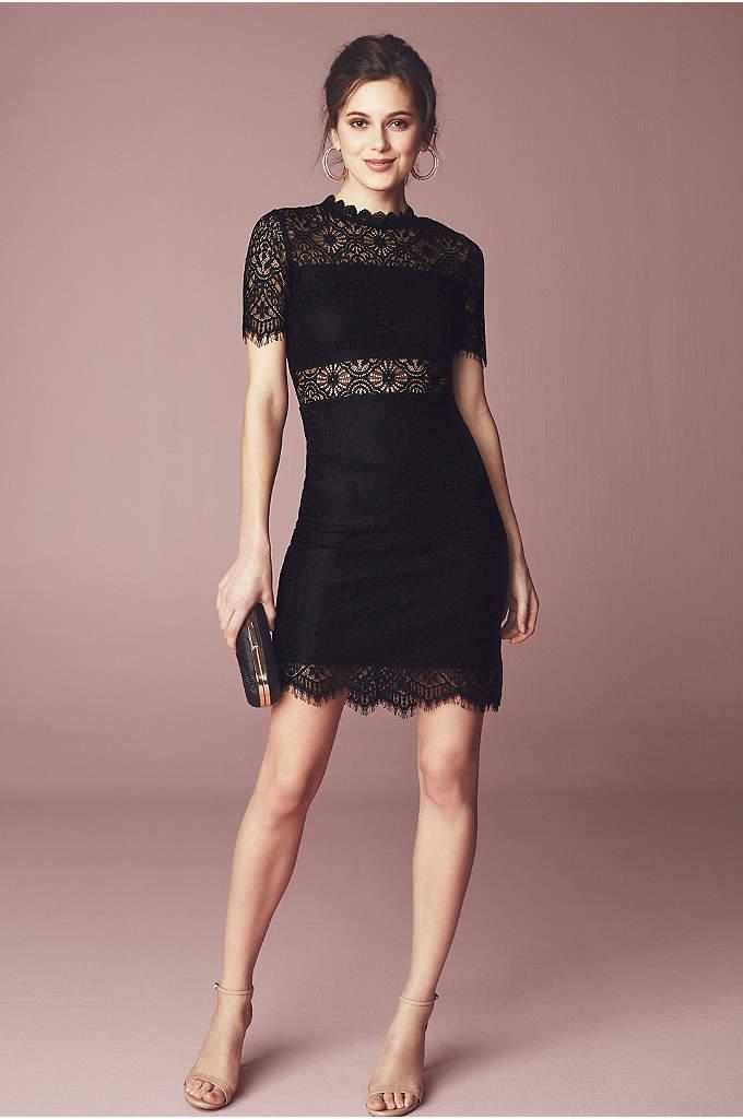 Short Sheath Illusion Lace High-Neck Dress