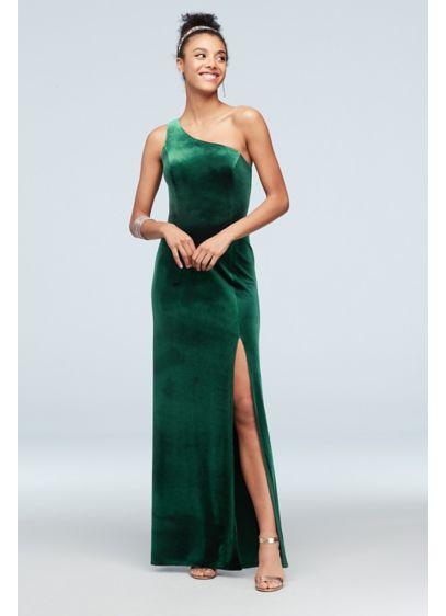 One-Shoulder Stretch Velvet Dress with Skirt Slit - Slinky velvet and a one-shoulder neckline add a