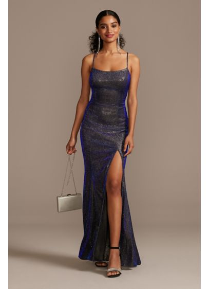 Iridescent Metallic Glitter Spaghetti Strap Gown - This sleek sheath gown is a head-turning option