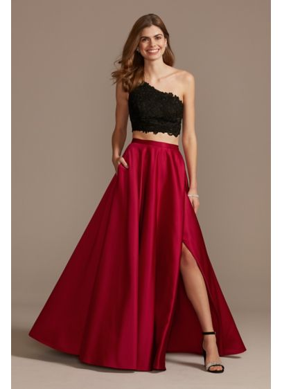 Asymmetric Lace Crop Top and Satin Split Skirt - A crop top and a satin skirt are