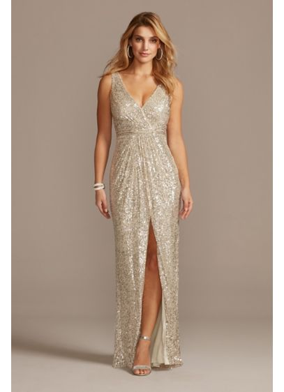 Allover Sequin Pleated V-Neck Gown with Slit - For a look with mega-watt shine, wear this