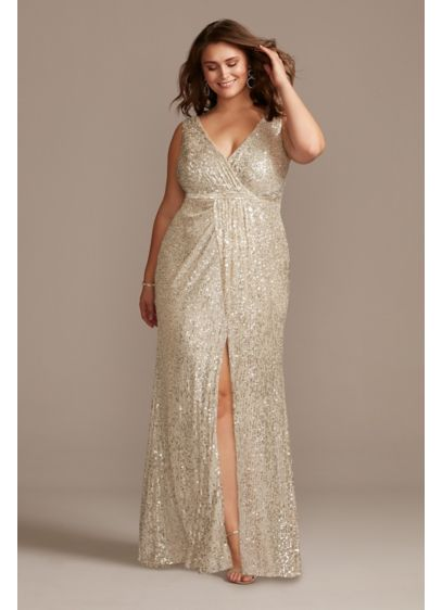 Allover Sequin Pleated Plus Size Gown with Slit - For a look with mega-watt shine, wear this