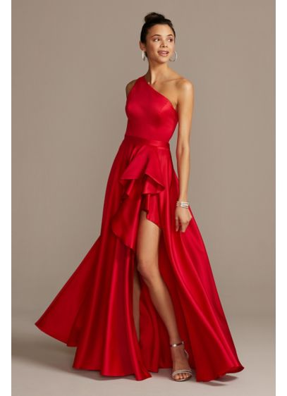 One Shoulder Asymmetric Satin Cascade Gown - Elegantly detailed with a modern one-shoulder neckline and