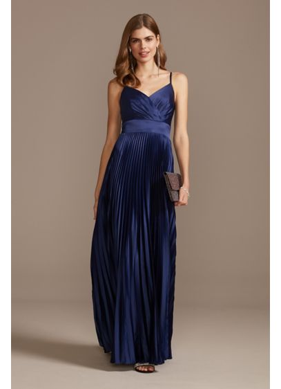 Accordion Pleated Satin Spaghetti Strap Gown - The picture of elegance, this slinky spaghetti strap