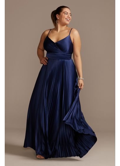 Accordion Pleated Satin Spaghetti Plus Size Gown - The picture of elegance, this spaghetti strap plus-size