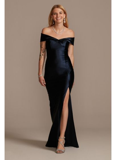 Stretch Satin Off the Shoulder Dress with Slit - Made of stretch satin, this off-the-shoulder sheath gown