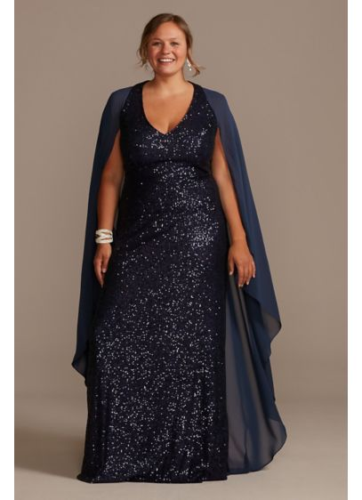 Allover Sequin Plus Size Gown with Chiffon Capelet - Ready for an Old Hollywood premiere or a
