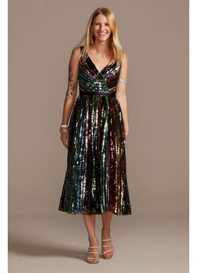 Rainbow Sequin Striped V-Neck Midi Dress - This dress is a party just waiting for