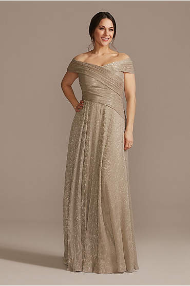 Pleated Metallic Off-the-Shoulder Dress