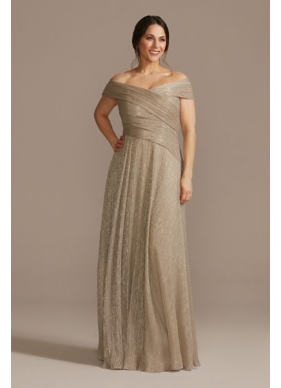 Long A-Line Off the Shoulder Formal Dresses Dress - Oleg Cassini