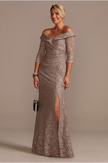 Off-the-Shoulder V-Neck Ruched Lace Gown