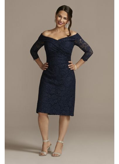 Off-the-Shoulder Knee Length Lace Dress - Show some shoulder (and leg!) with this knee-length