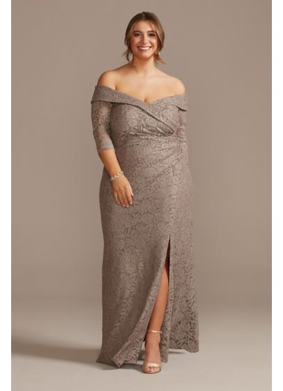 Off-the-Shoulder Glitter Lace Plus Size Dress - Crafted of exquisite floral glitter lace, this plus-size