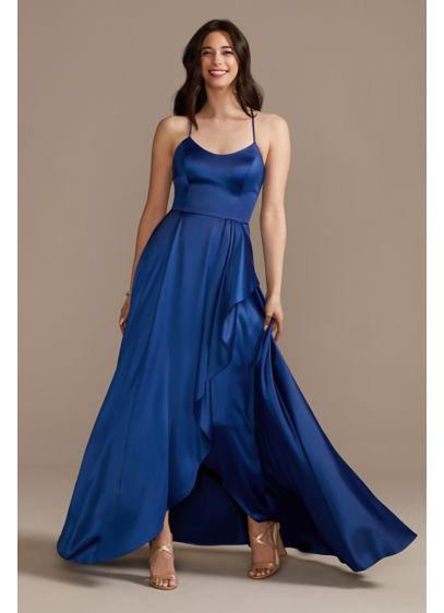 Long A-Line Satin Scoopneck Spaghetti Strap Dress - Unadorned and ultra-flattering, this floor-length satin A-line dress