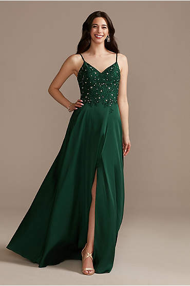 Embellished Bodice Spaghetti Strap Dress with Slit