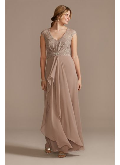Chiffon A-Line Dress with Lace Cap Sleeve Overlay - This flowy chiffon A-line dress is topped with