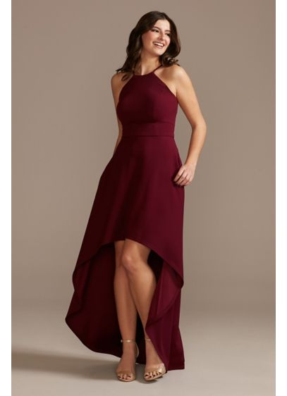 High Neck Crepe A-Line Dress with High-Low Hem - Detailed with a flattering high neckline and a