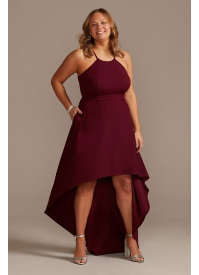High Neck Crepe Plus-Size Dress with High-Low Hem - Detailed with a flattering high neckline and a