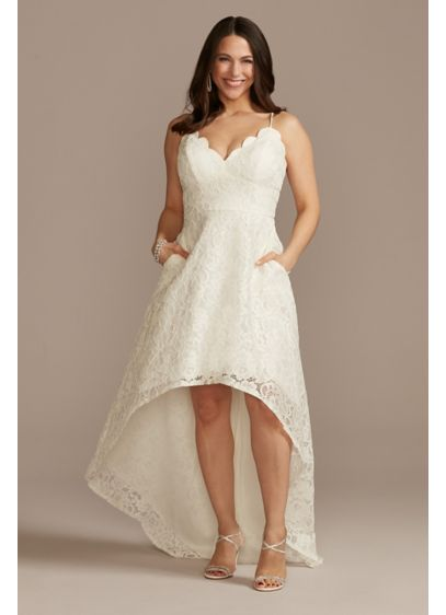 High-Low Lace Dress with Spaghetti Straps - A versatile lace high-low dress, this spaghetti strap