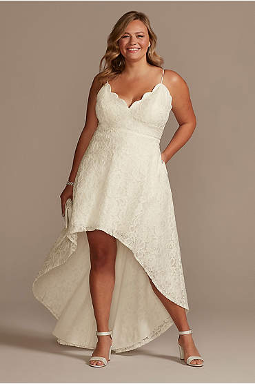 High-Low Lace Plus Dress with Spaghetti Straps