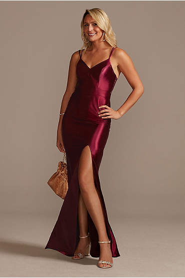 Spaghetti Strap Shiny Satin Gown with Slit Skirt