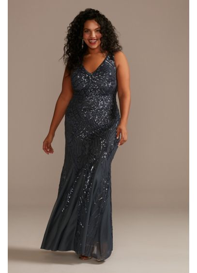 Long Sequin Plus Size V-Neck Sheath Tank Dress - Sequins cover the tank straps and bodice of