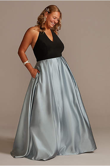 V-Neck Halter Satin Plus Ball Gown with Pockets