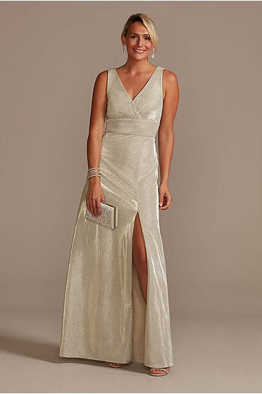 Metallic A-Line Tank Gown with Slit Skirt