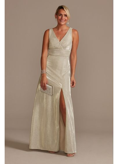 Metallic A-Line Tank Gown with Slit Skirt - Glimmering, shimmering fabric makes for a showstopping special