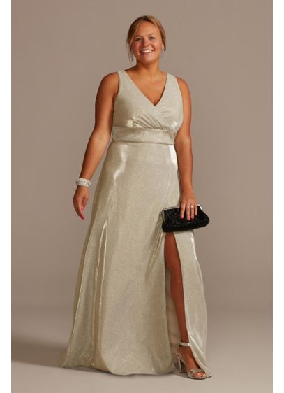 Metallic A-Line Tank Plus Gown with Slit Skirt - Glimmering, shimmering fabric makes for a showstopping special